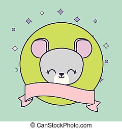 head of cute mouse animal with ribbon