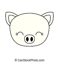 head of cute piggy animal isolated icon