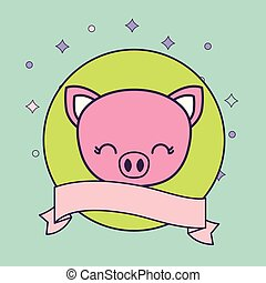 head of cute piggy animal with ribbon