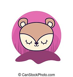 head of cute porcupine animal isolated icon