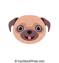 head of cute pug dog on white background vector illustration design