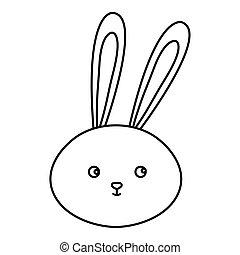 head of cute rabbit animal isolated icon