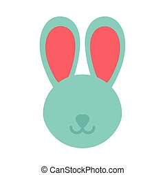 head of cute rabbit on white background