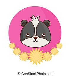 head of cute raccoon animal with flowers