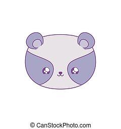 head of cute raccoon baby animal kawaii style