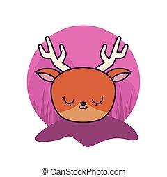 head of cute reindeer animal isolated icon