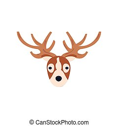 head of cute reindeer on white background