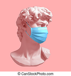 Head Of David In Medical Mask. Concept Of Coronavirus...