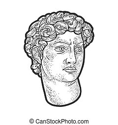head of David statue sketch engraving vector illustration. T-shirt apparel print design. Scratch board imitation. Black and white hand drawn image.