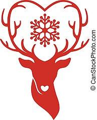 head of deer with antlers love