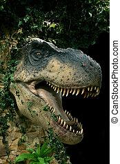head of dinosaur - head of big dinosaur on black background