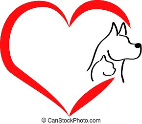 Head of dog and cat with heart on white background