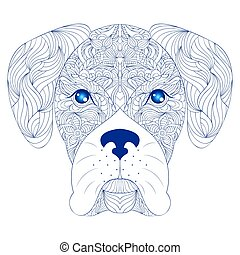head of dog on white background
