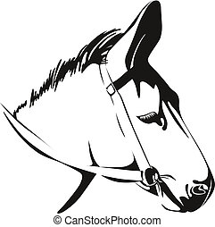 Head of Donkey. vector drawing - Head of Donkey. Black and...