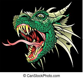 head of dragon isolated on the black background
