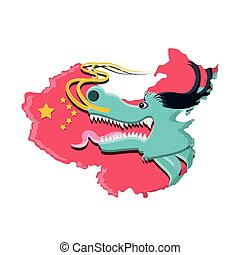 head of dragon with map chinese