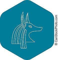 Head of egyptian god Anubis icon, outline style