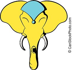 Head of elephant icon cartoon