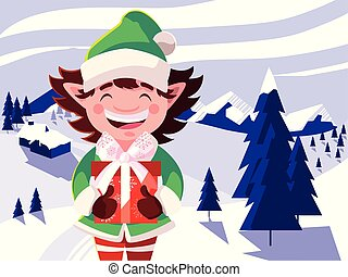 head of elf with hat on winter landscape