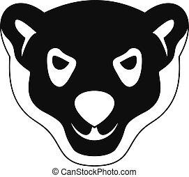 Head of furious polar bear icon, simple style - Head of...