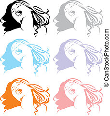 head of girl in different colors