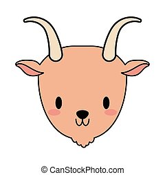 head of goat baby kawaii, line and fill style icon