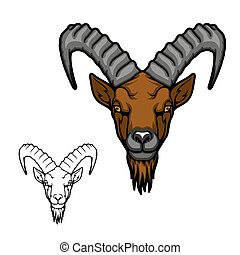 Mountain goat or ibex animal vector icon. Head of Alpine or Siberian tur with curved ridged horns, brown beard and fur, wild mammal of hunting sport club mascot and symbol design