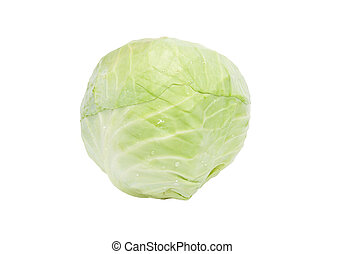 Head of green cabbage is isolated on a white background