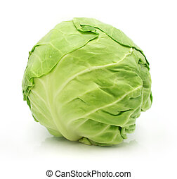 head of green cabbage vegetable isolated on white background
