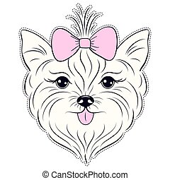 Head of hand drawn yorkshire terrier