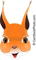 Head of happy squirrel in cartoon style. Kawaii animal.