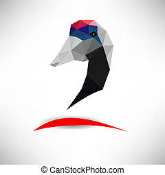 Head of heron. Polygonal  image.