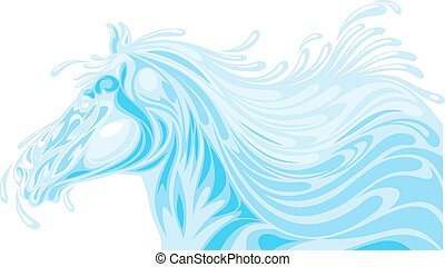 head of horse from water waves isolated on the white...