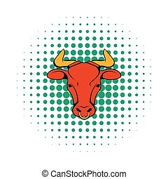 Head of Indian cow icon, comics style