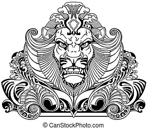 head of lion  black white tattoo