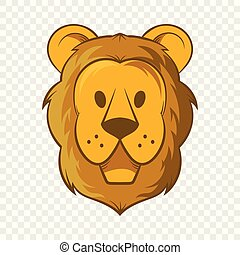 Head of lion icon, cartoon style