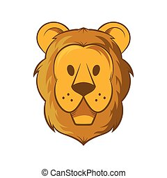 Head of lion icon, cartoon style