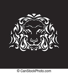 Head of lion in tattoo style - front view