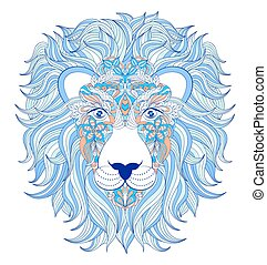head of lion on white background.