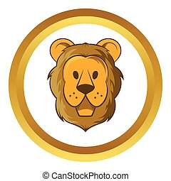 Head of lion vector icon, cartoon style