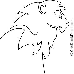 Head of Lion with mane. Continuous One line drawing
