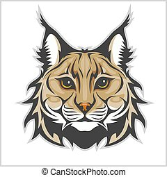 Head of lynx isolated on white - mascot logo.