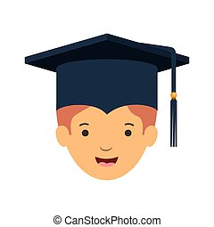 head of man with mortarboard avatar character