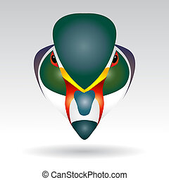 Head of Mandarin Duck beautifully designed half - vector