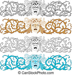 Head of Medusa Gorgon with snake hair and curled prickly bush as a headline or banner, vector illustration