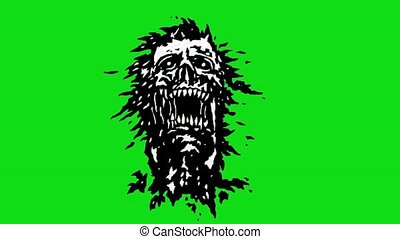 Head of monster with torn face. Scary vampire skull on green...