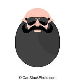 Head of mustachioed biker with beard. Brutal man. Stern...