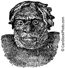 Neanderthal man - Head of Neanderthal man (Homo sapiens...