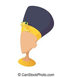Head of Nefertiti icon, cartoon style