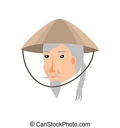 head of old man chinese peasant avatar character